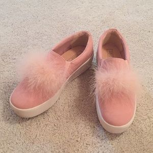 faux fur platform sneakers